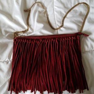 H&M Suede Fringe Shoulder Bag